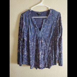 Lucky Brand Blue Paisley Boho Hippie Top Blouse